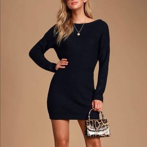 LuLus Black Sweater Dress